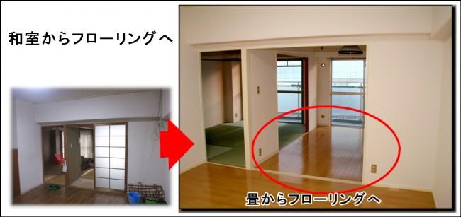 畳和室からフローリングリフォーム寝屋川 マンション